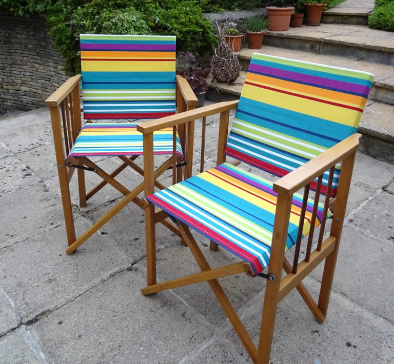 directors chair recovered in the Stripes Company fabric