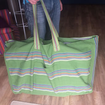 Extra large bag made from TSC deckchair canvas fabric and striped webbing