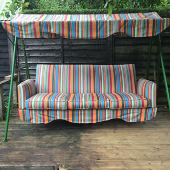 striped fabric for recovering swing seat