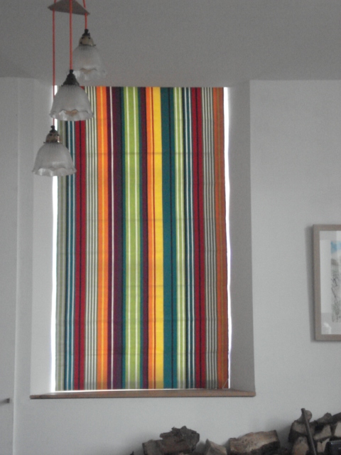 customer made roman blind with Aerobics interior striped fabric