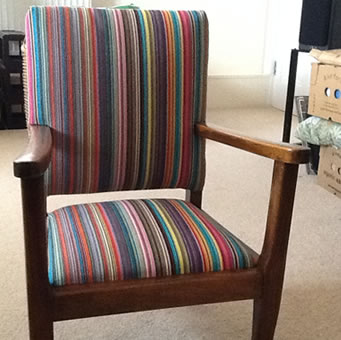 Multi stripe cotton fabrics to recover dining chairs