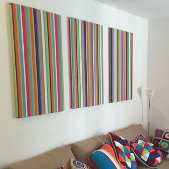 striped fabric wall art