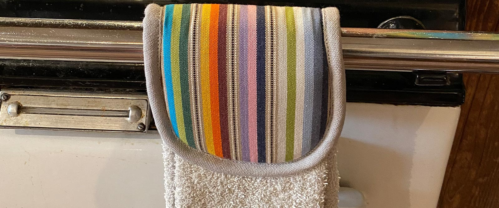 Black Aga Towel |  Black Hanging Hand Towel with Multicolour Stripe for Ranges