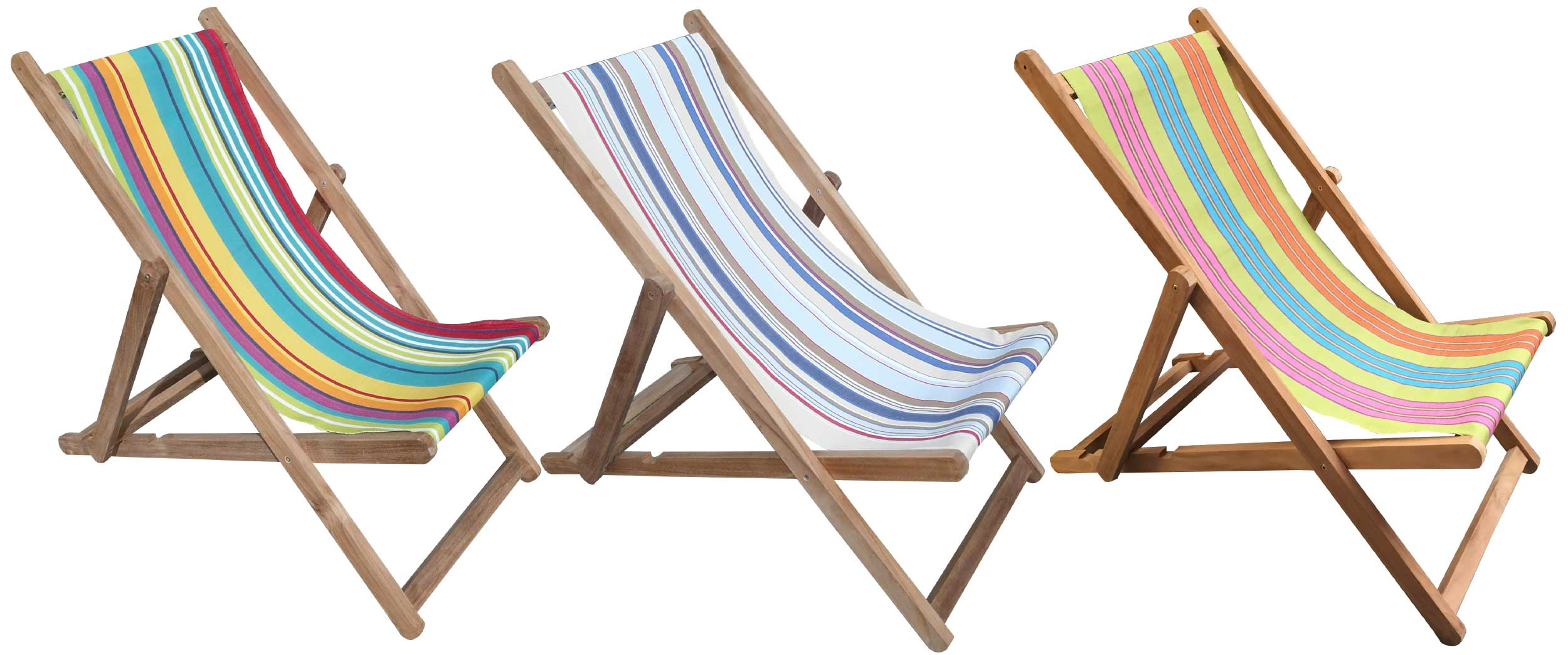Brown Deckchairs | Wooden Deck Chairs with Striped Deckchair Sling - Yoga Stripe