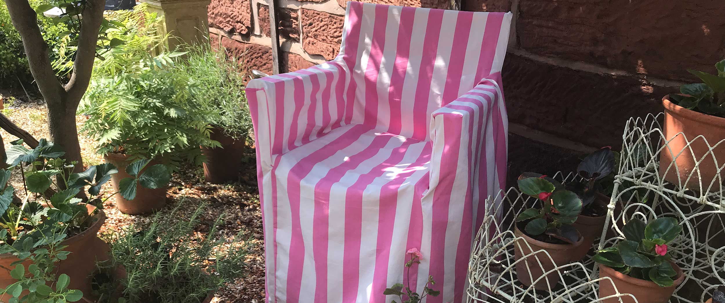 Pink and White Stripe Loose Covers for Directors Chairs