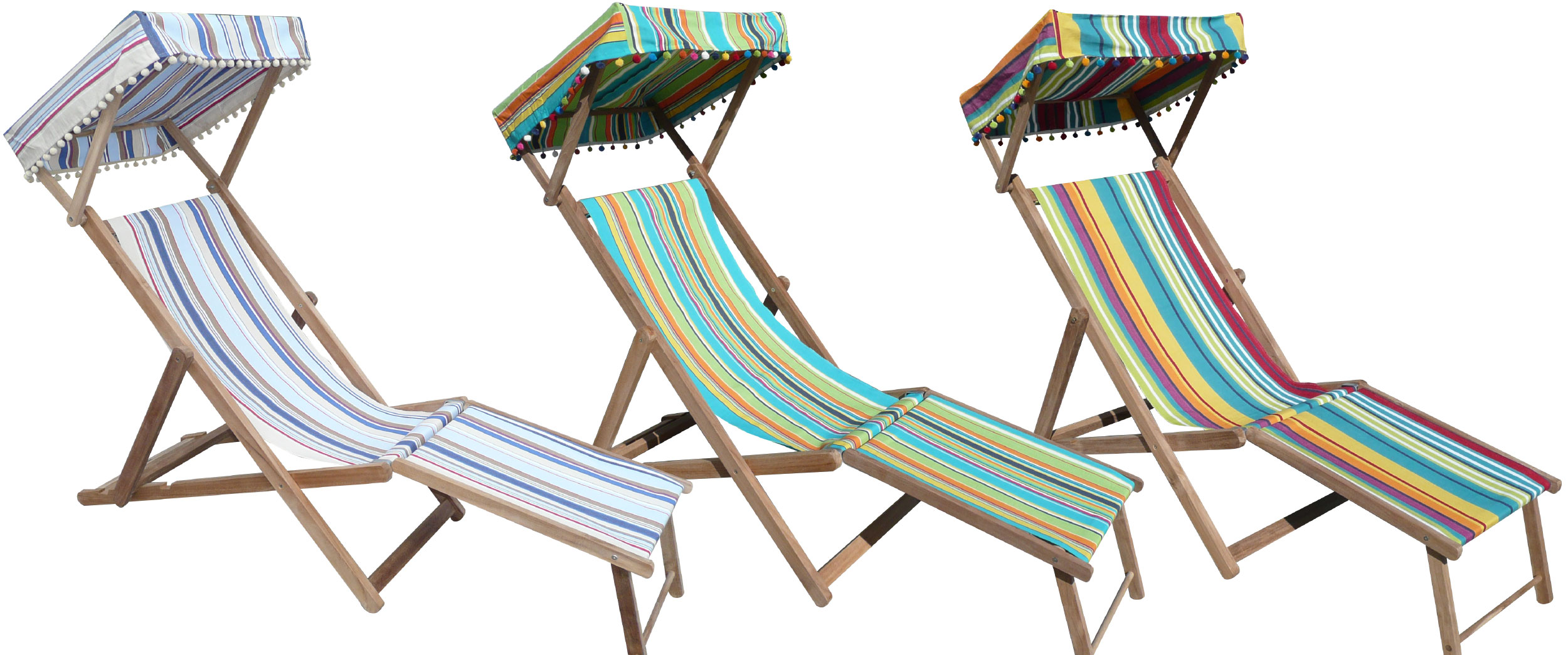 Edwardian Deckchairs with Canopy and Footstool blue