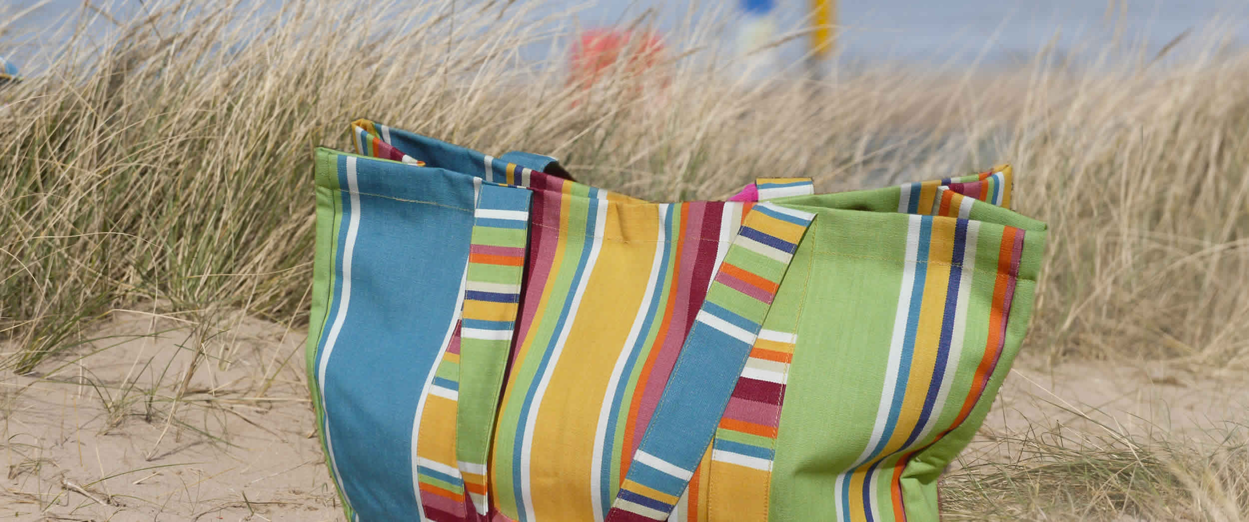 Large Striped Beach Bags grey, white, lime