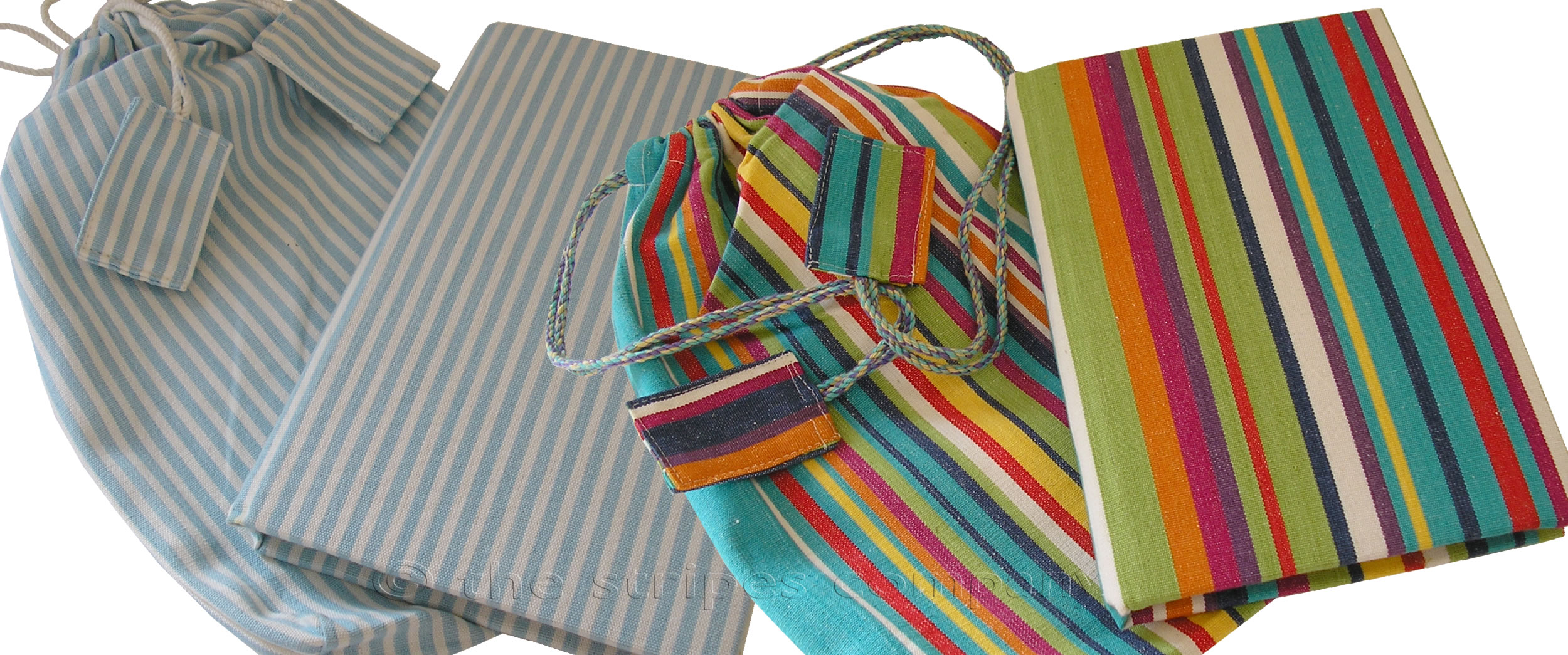 Fabric Covered Notebooks | Striped Notebooks with Matching Bag | Fabric Covered Note Book in Striped Bag