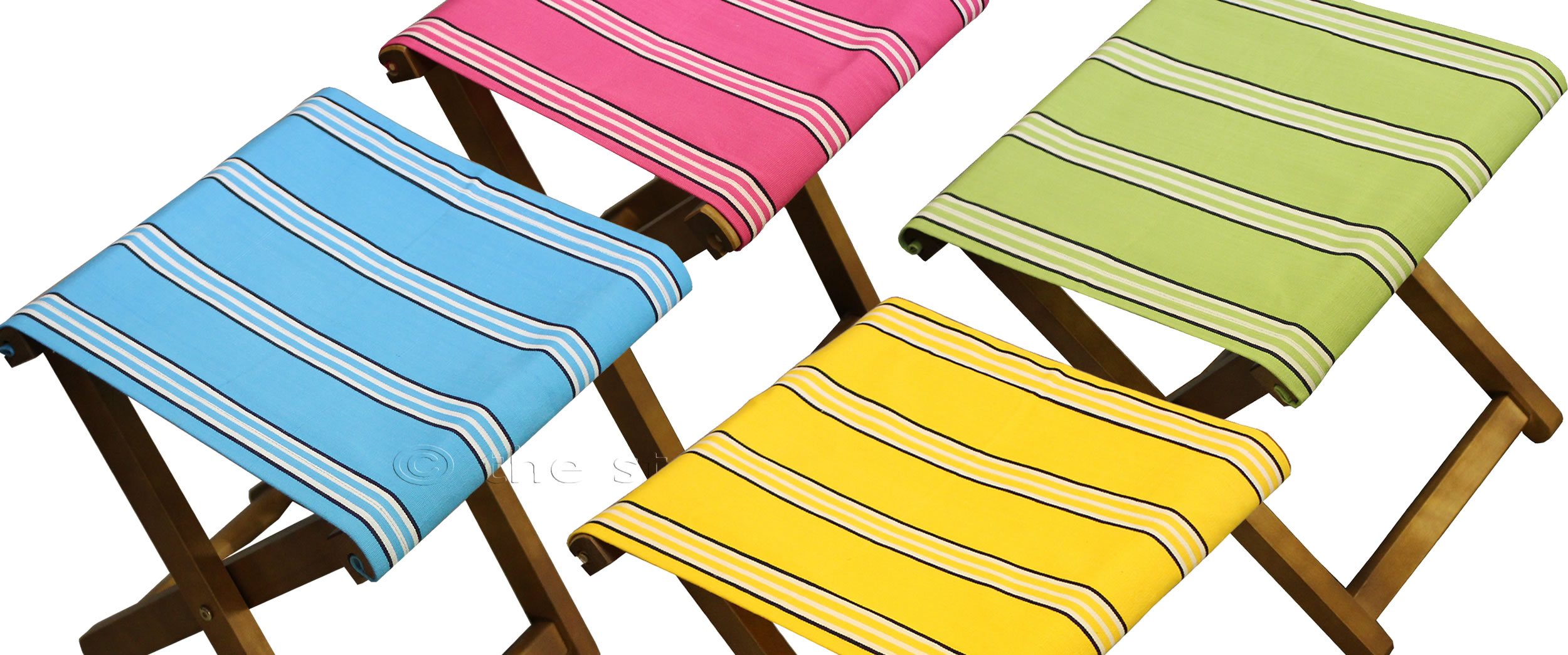 Portable Folding Stools With Striped Seats The Stripes