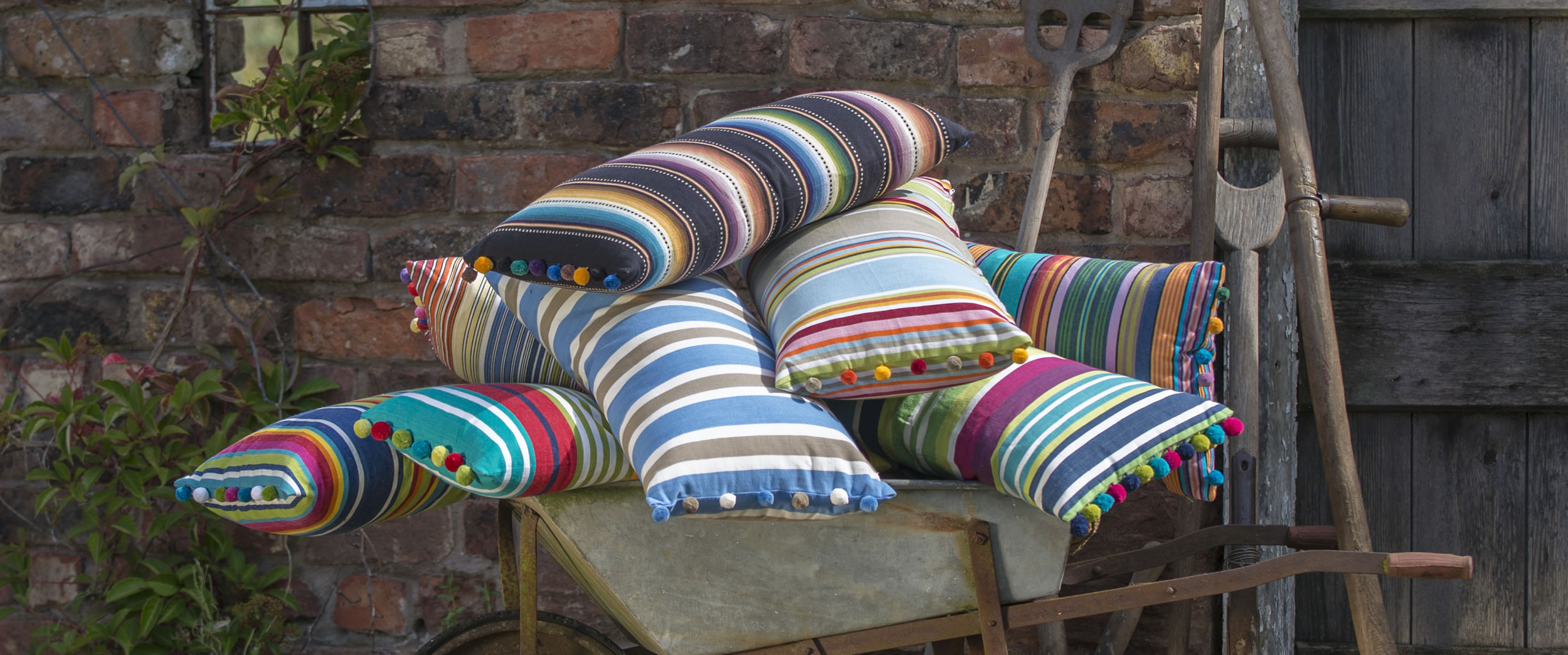 Black Turquoise White  Striped Oblong Cushions with Bobble Fringe  Sack Race Stripes