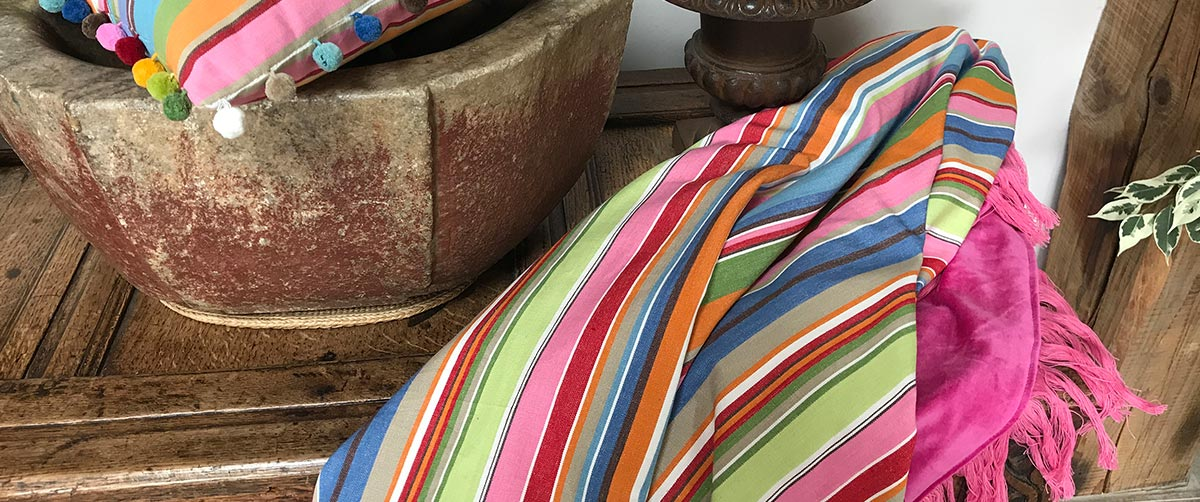 Reversible Throws - Velvet & Striped Cotton Fringed Throws