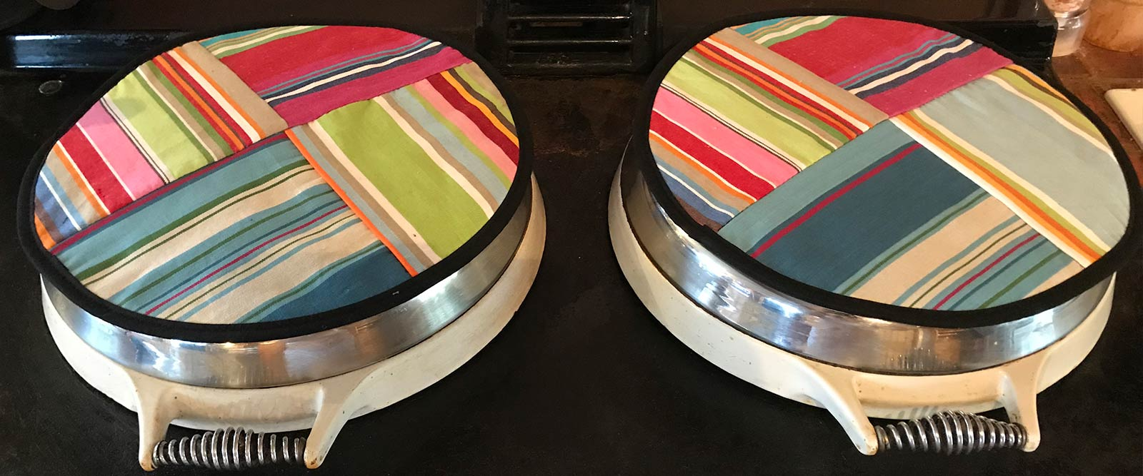 Striped Hob Covers for Agas | Range Cooker Hob Covers | Round Hob Protectors | Chefs Pads