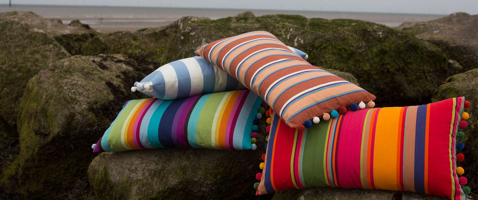 Striped Oblong Cushions with Bobble Fringe
