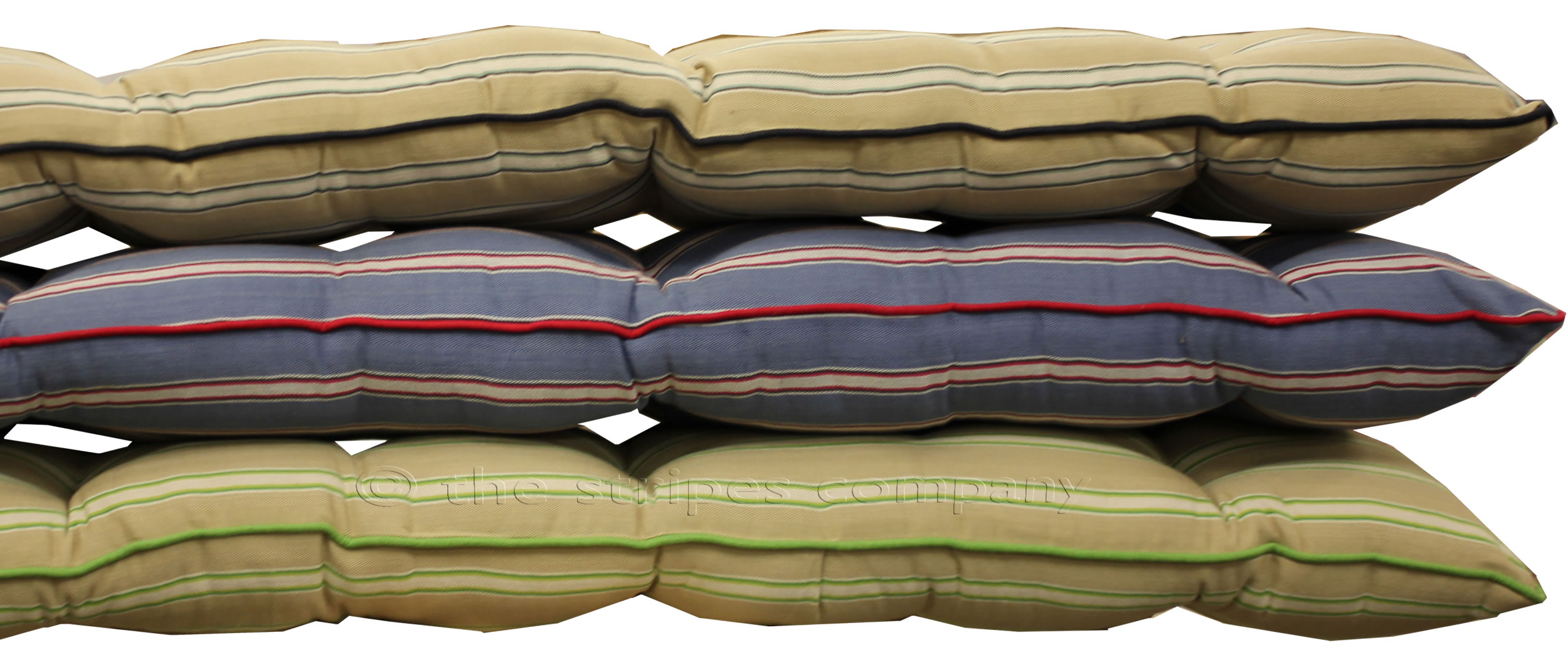 Beige Green Long Bench Cushions