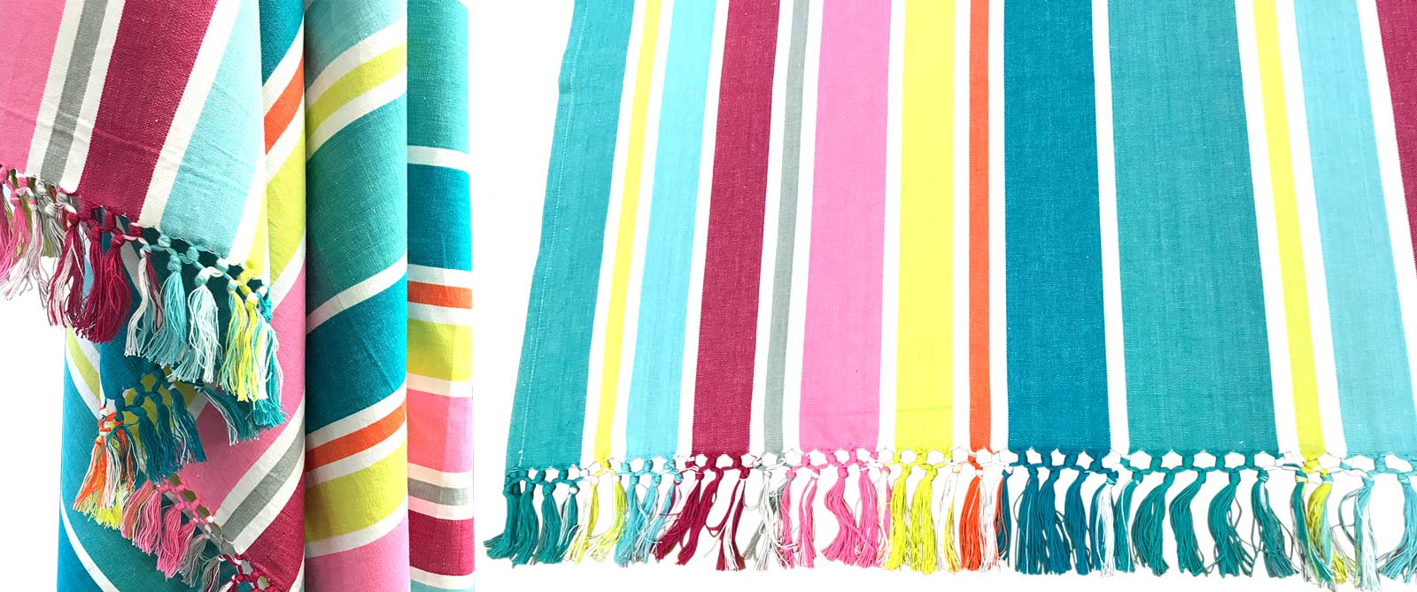 Pink and Turquoise Stripe Cotton Throw 170 x 130 cms
