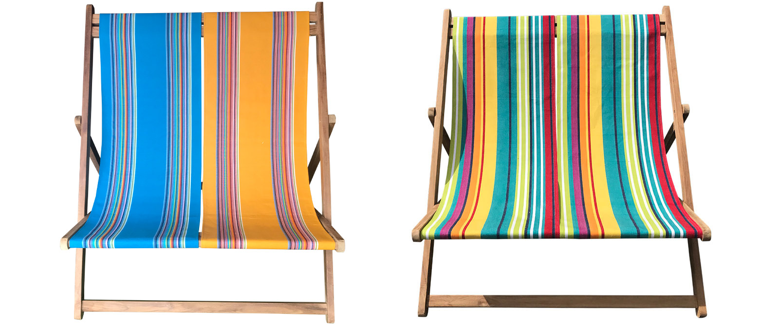Teak Double Deckchair with 2 turquoise, green, white & navy stripe slings