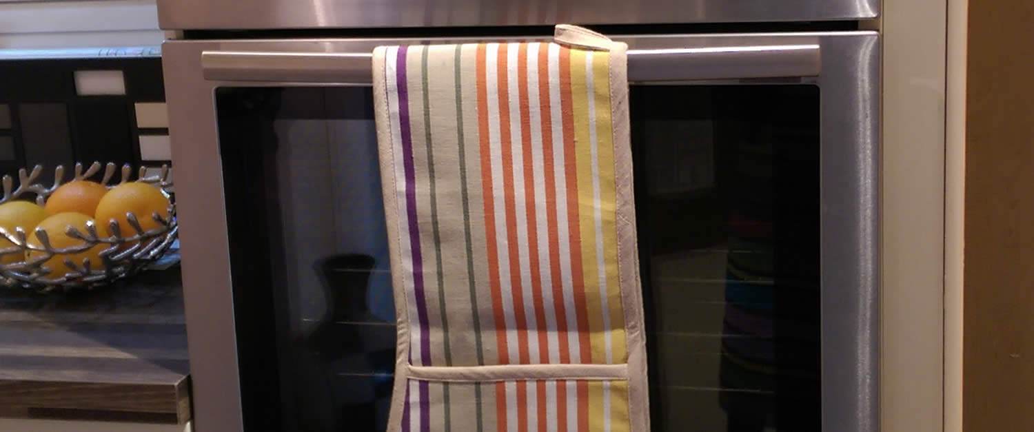 Striped Oven Gloves | Double Oven Mitts