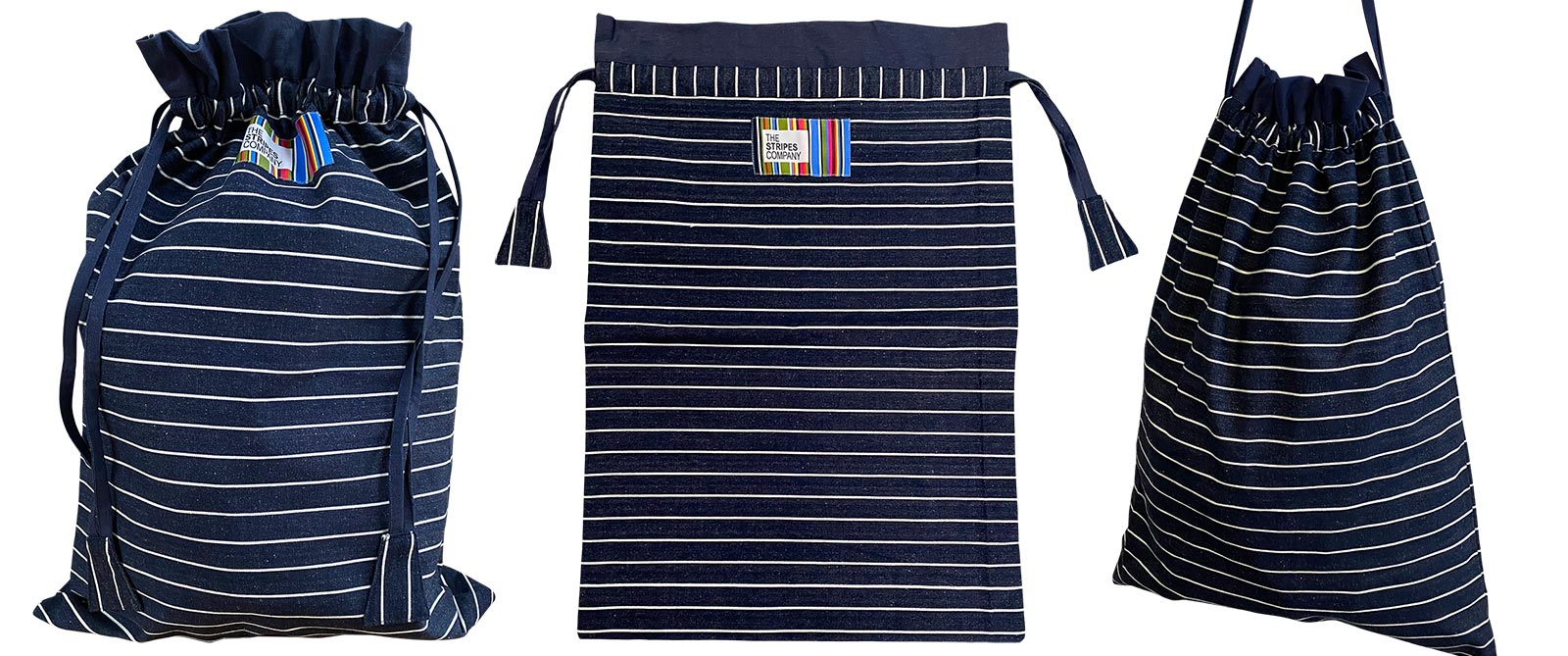 Striped Drawstring Bags | Kit Bags | Large Storage Bags | Laundry Bags