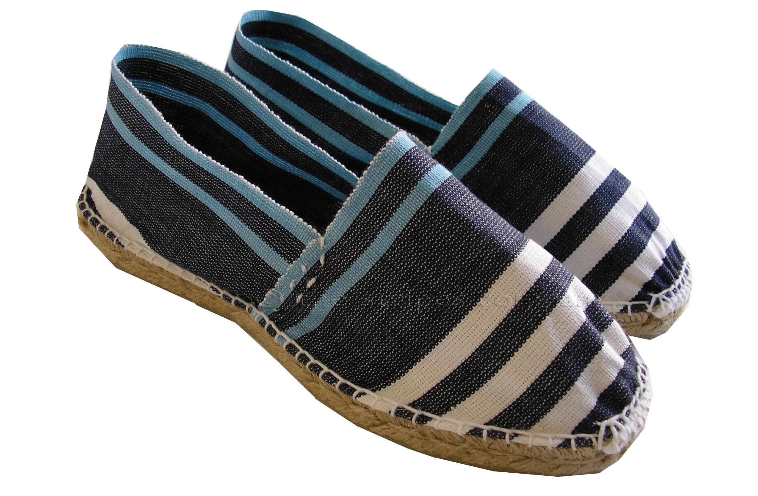 Striped Espadrilles | Navy blue, pale blue, white stripe espadrille shoes