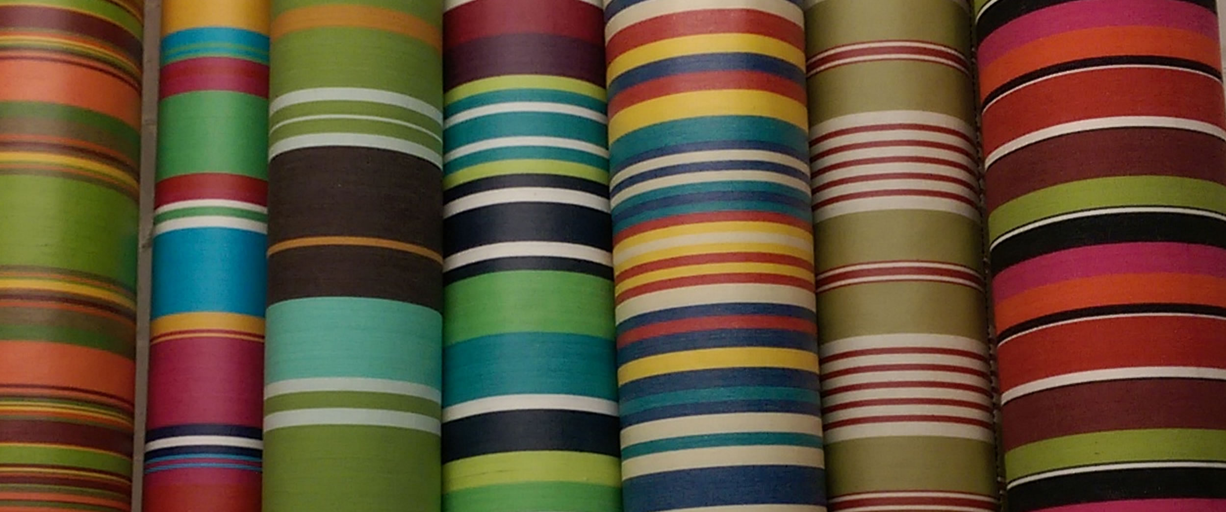 Pink, Coral, Black, Lime Green Striped Oilcloth Fabric | Wipeable Fabrics | Wipe Clean Oilcloth Coated Fabrics