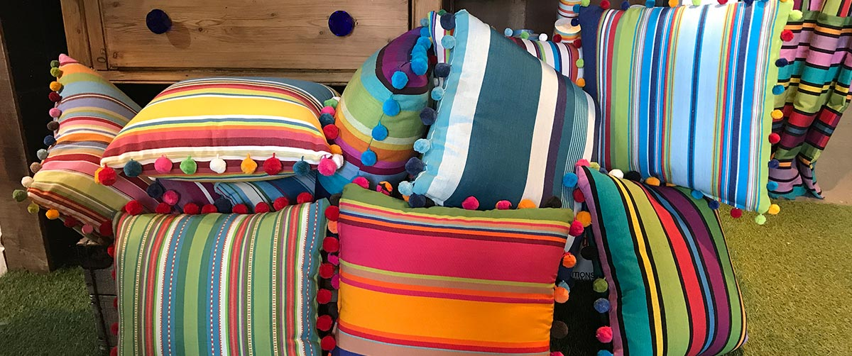 Bespoke Striped Pompom Cushions