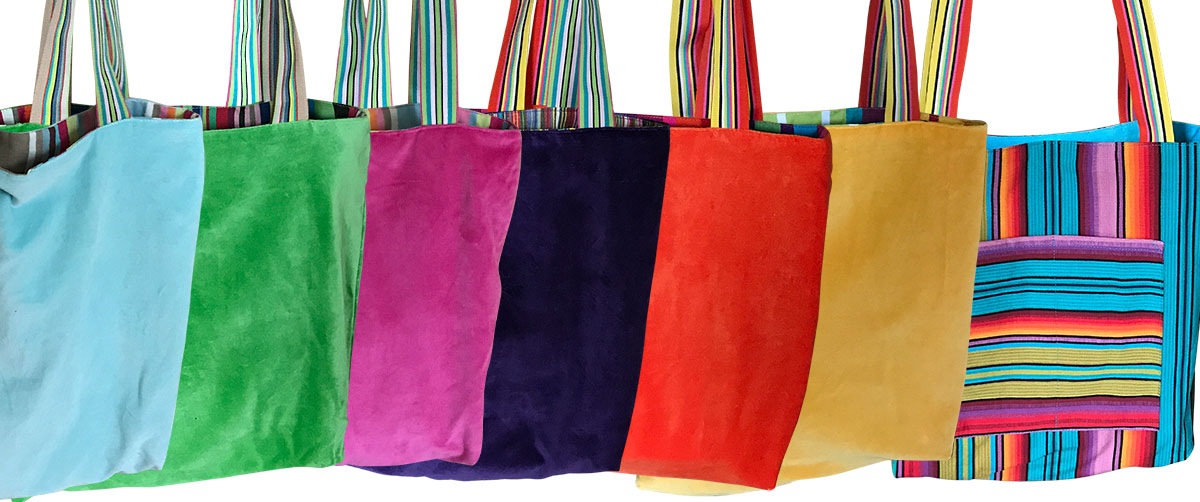 Striped Reversible Velvet Tote Bags