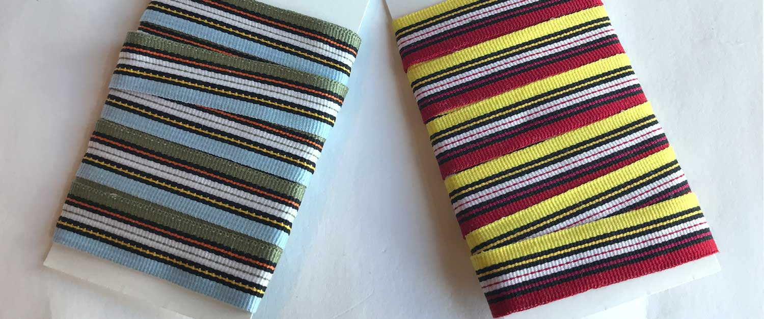 Pretty red, lemon yellow, white and black stripe ribbon