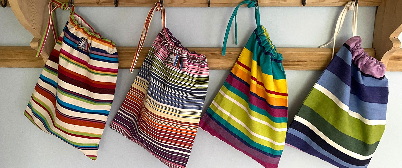 Pack of 4 Drawstring Shoe Bags | Striped Shoe Bags