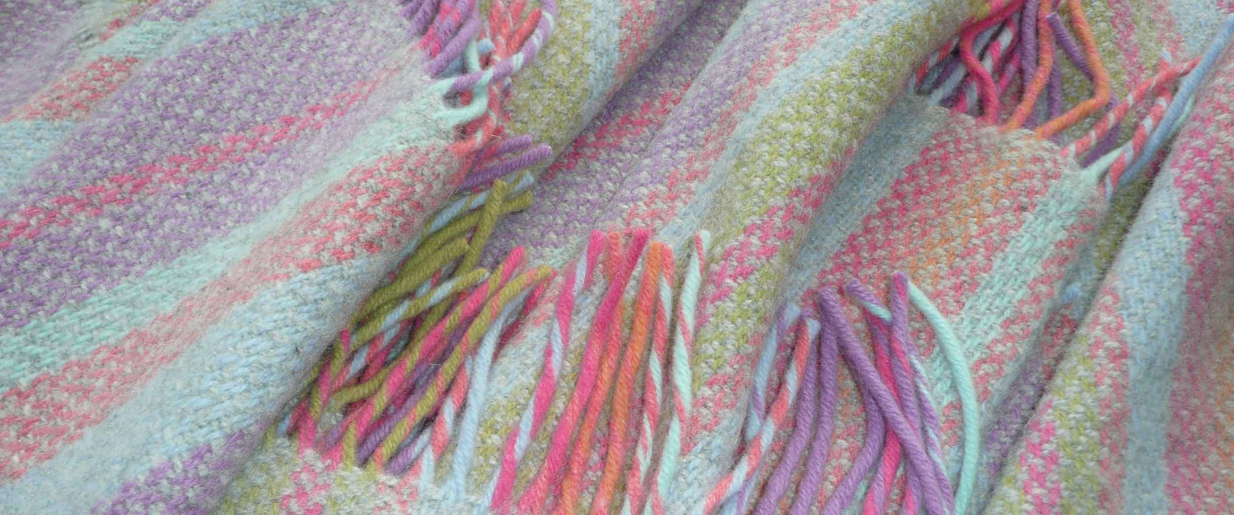 Striped Throws Merino and Cashmere Mix