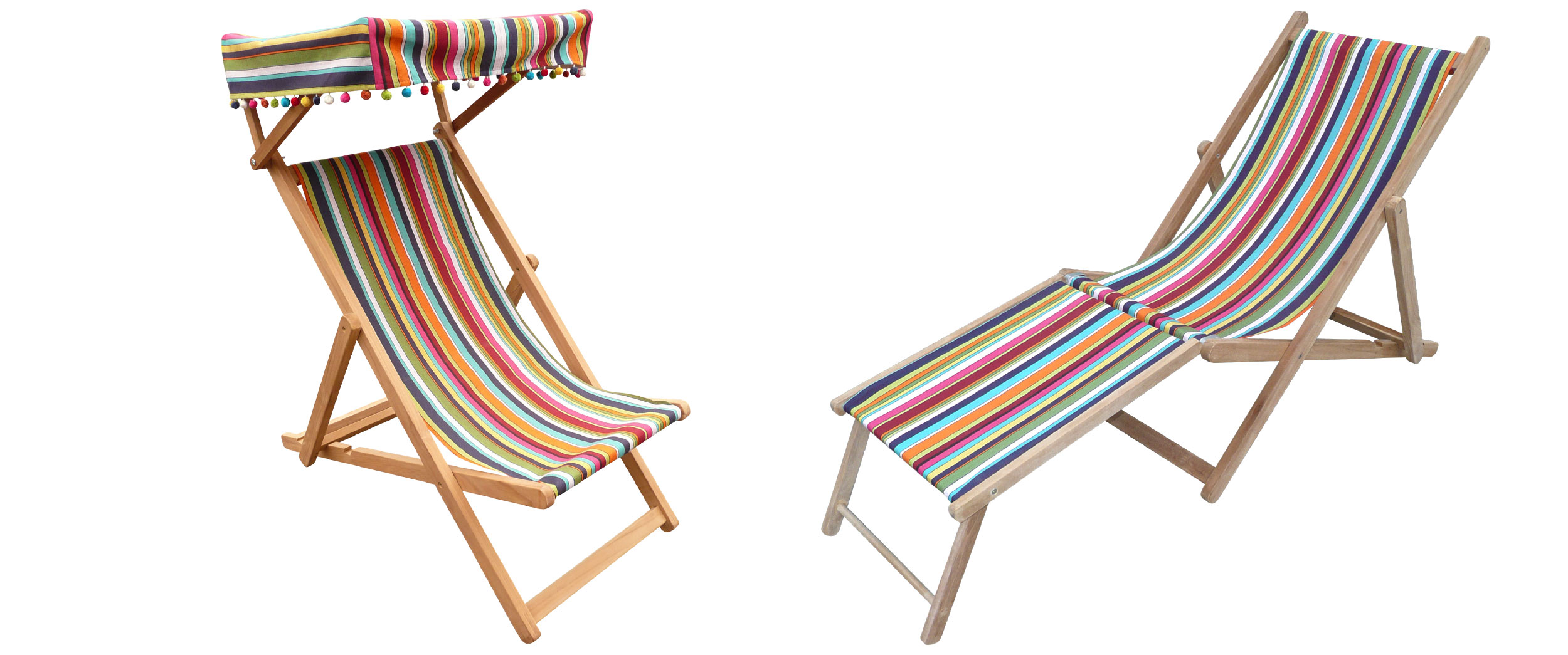 Teak Deck Chairs blue, red, black, yellow stripes
