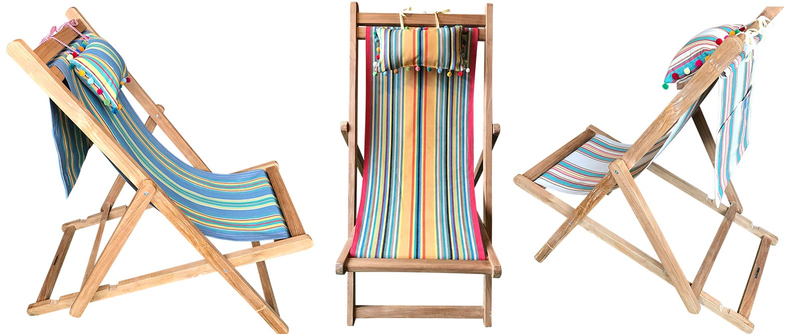 Teak Deckchair with Headrest and Pockets