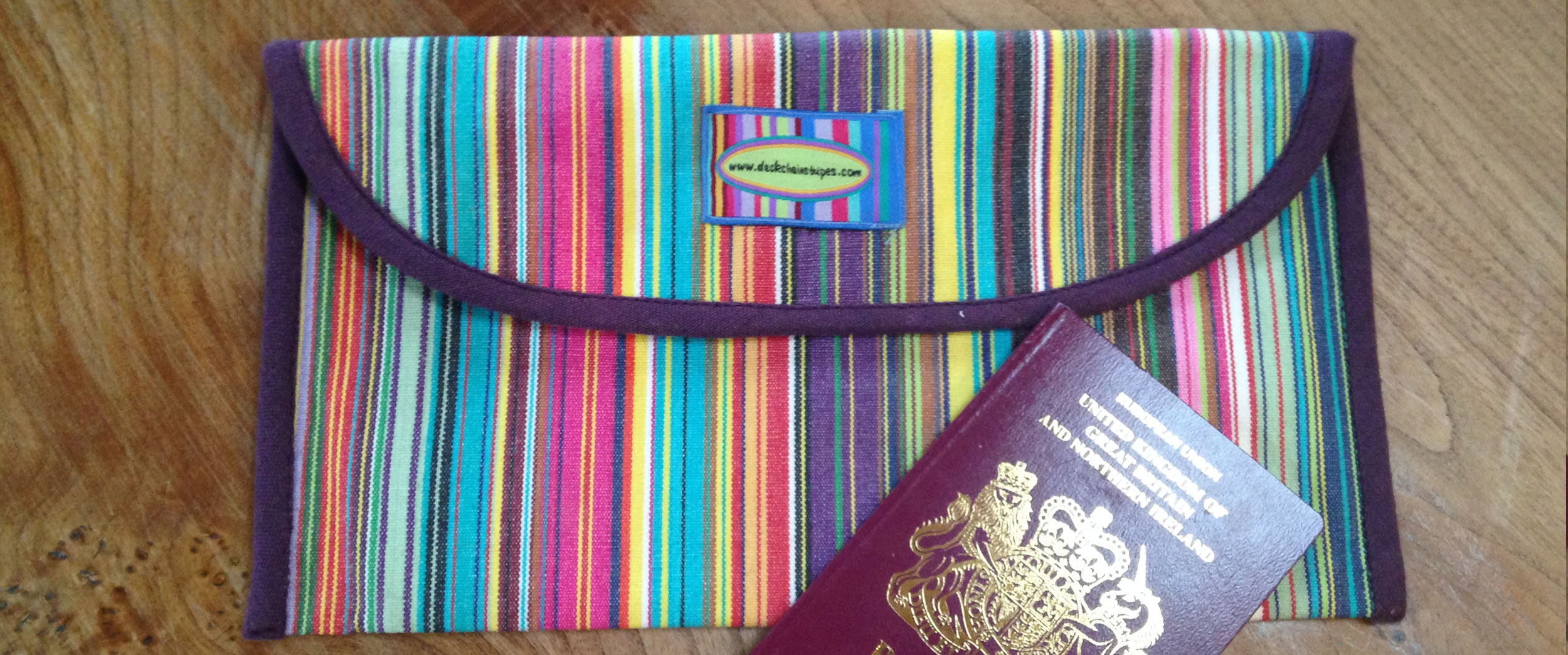 Pink Striped Passport and Travel Document Wallet