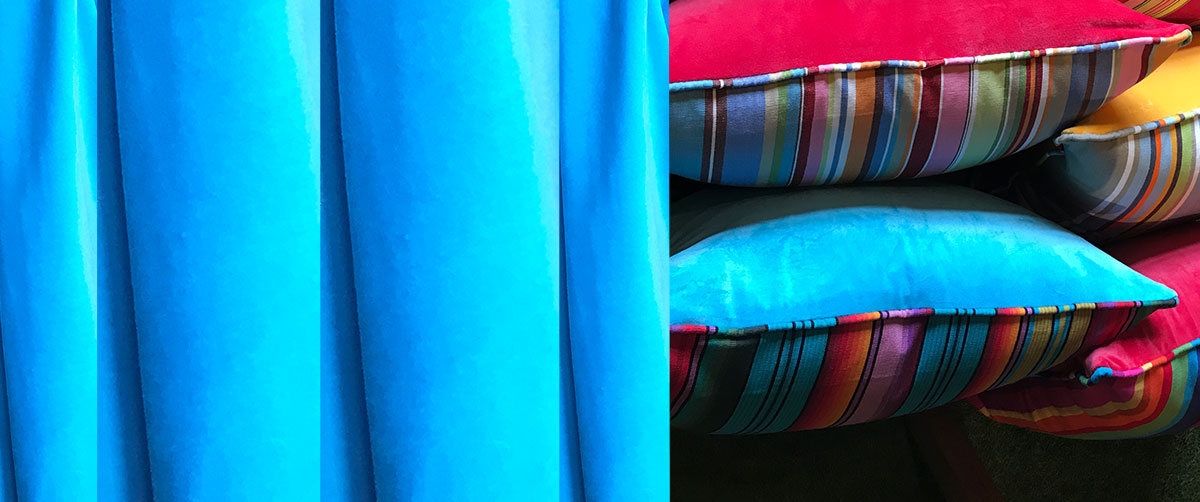 Turquoise Velvet Piped Half n Half Cushions