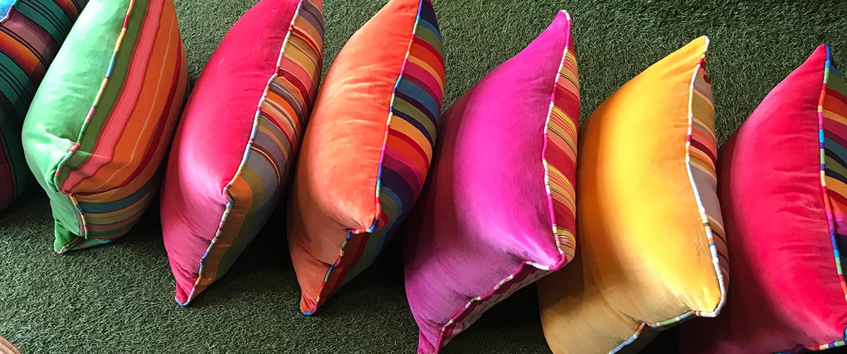 velvet stripe cushions