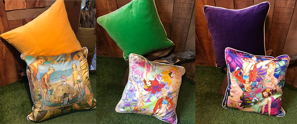 Silk and Velvet Cushions Small
