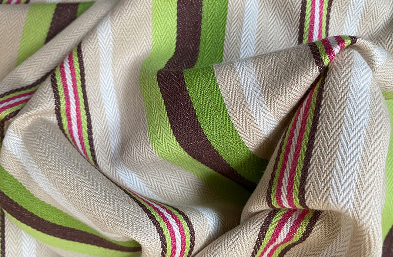 Green, Pale Green and Beige Stripe Ticking Fabric