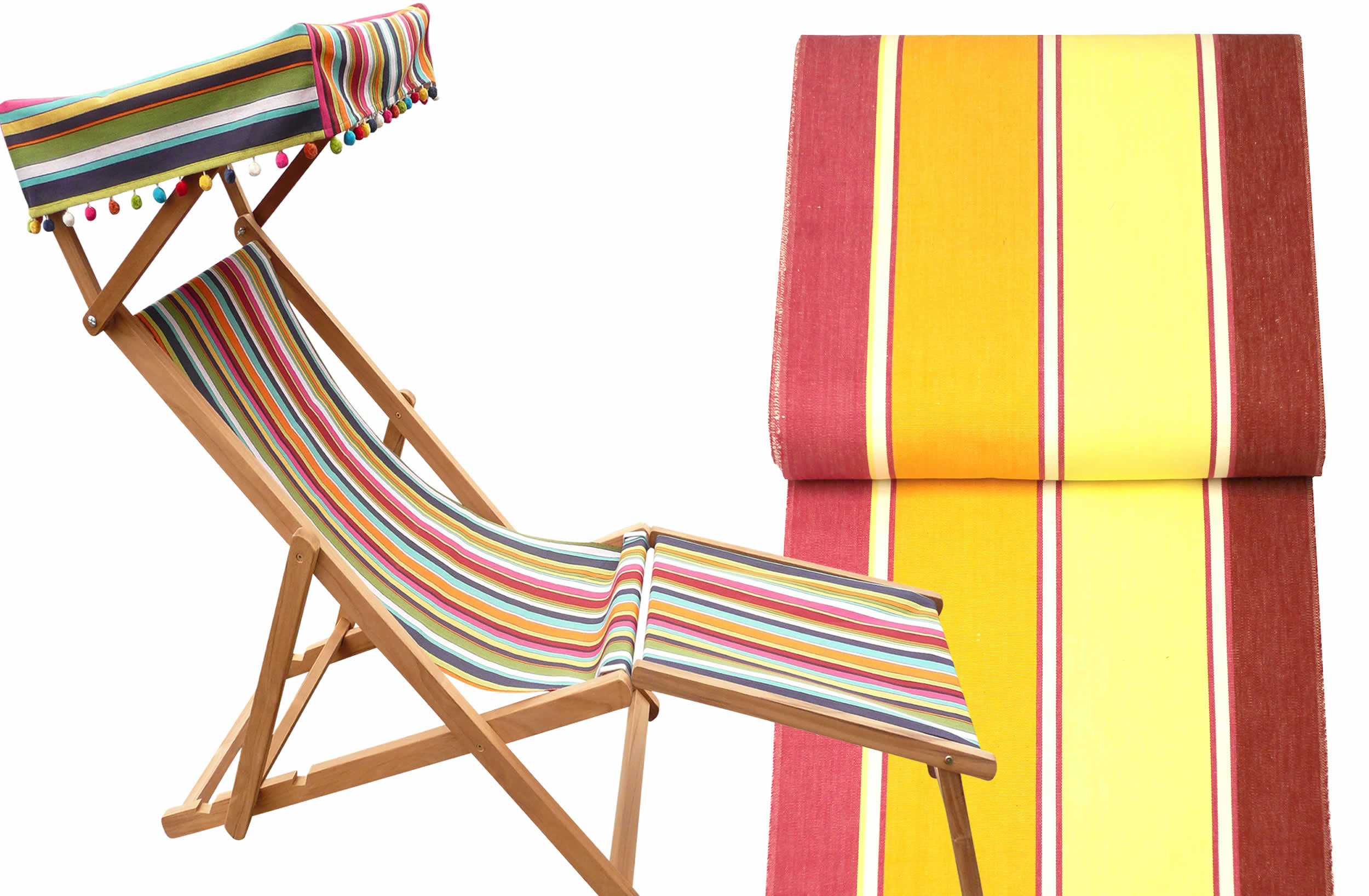 Edwardian Deckchairs with Canopy and Footstool - Acrobatics
