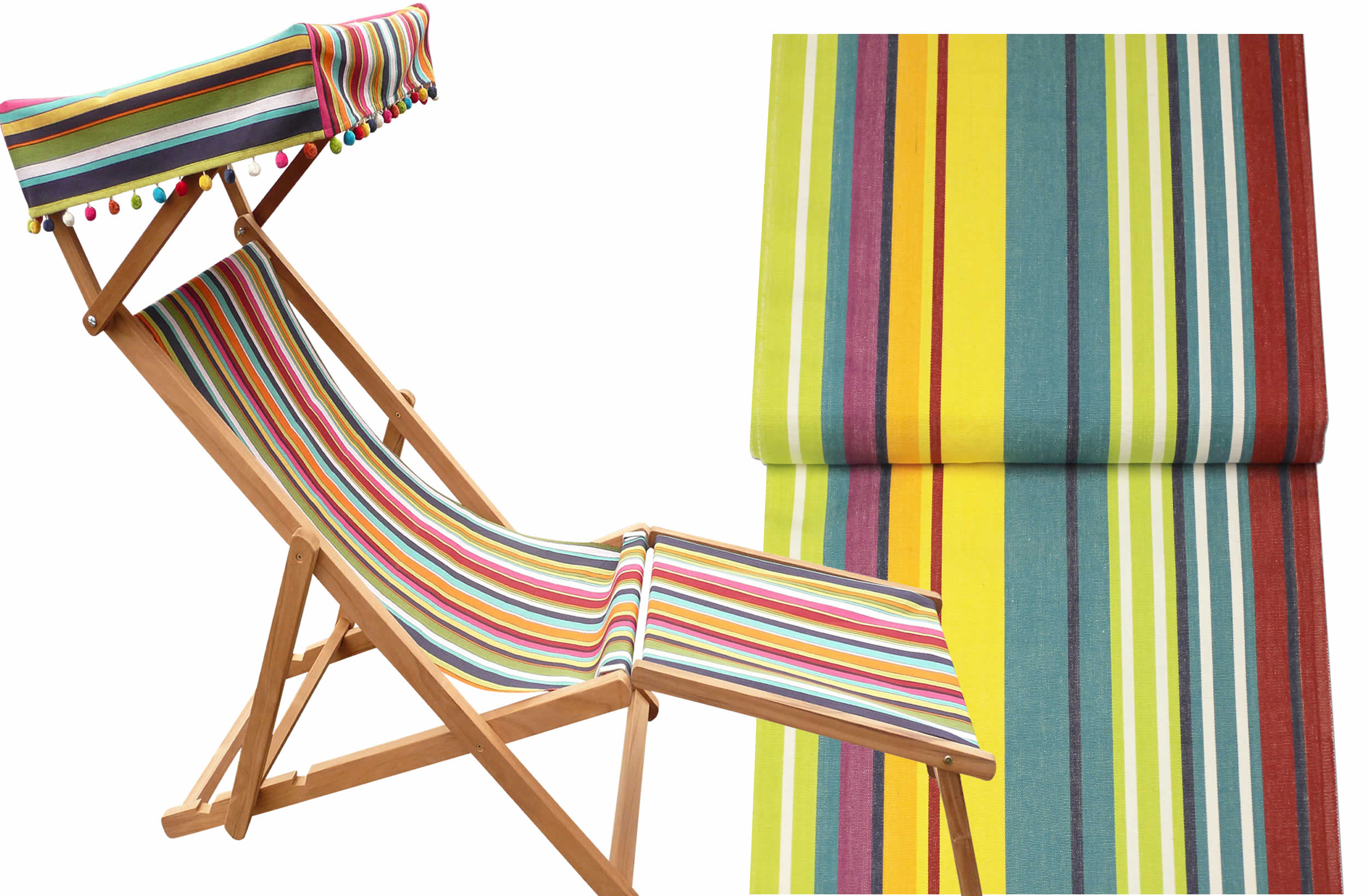 Aerobics Edwardian Deckchair with canopy and footstool