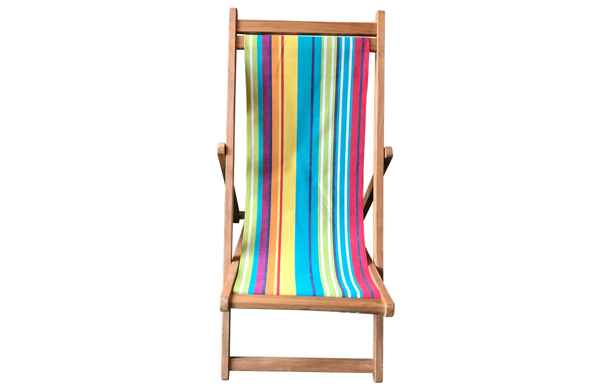 Premium Teak Deck Chairs turquoise, green, red stripes