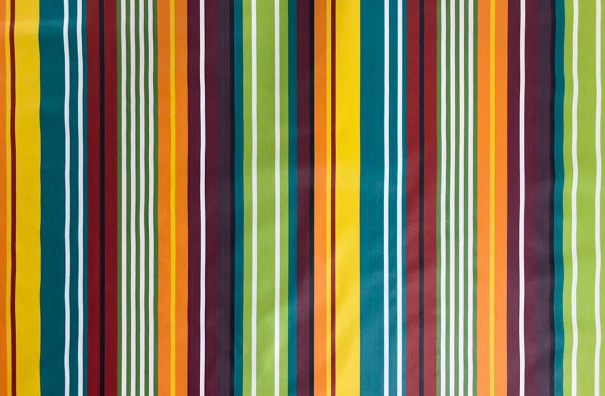 Aerobics Striped Oilcloth Fabric | Wipeable Stripe Fabrics