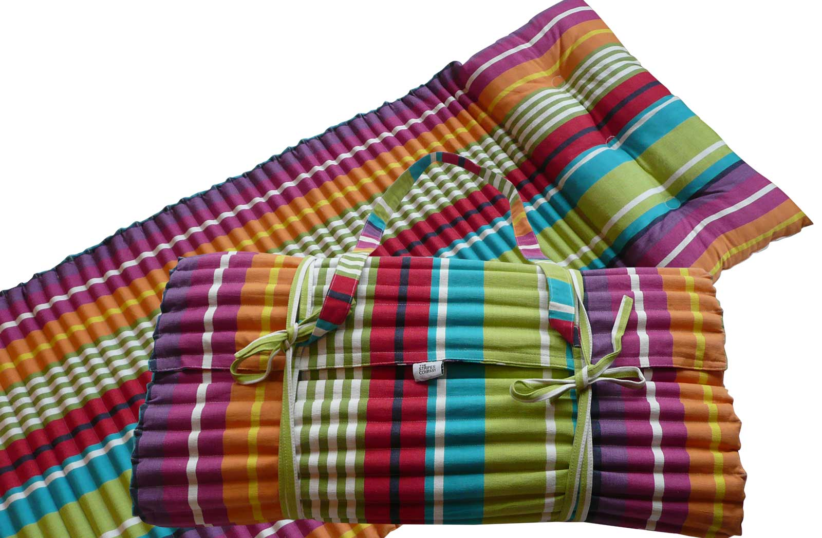 Roll Up Beach Mattress in bright vibrant stripes
