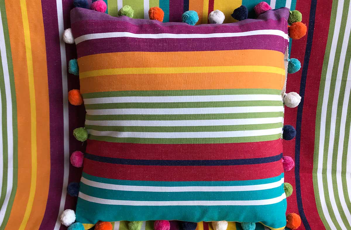 turquoise, green, red - 50x50cm Striped Pompom Cushions