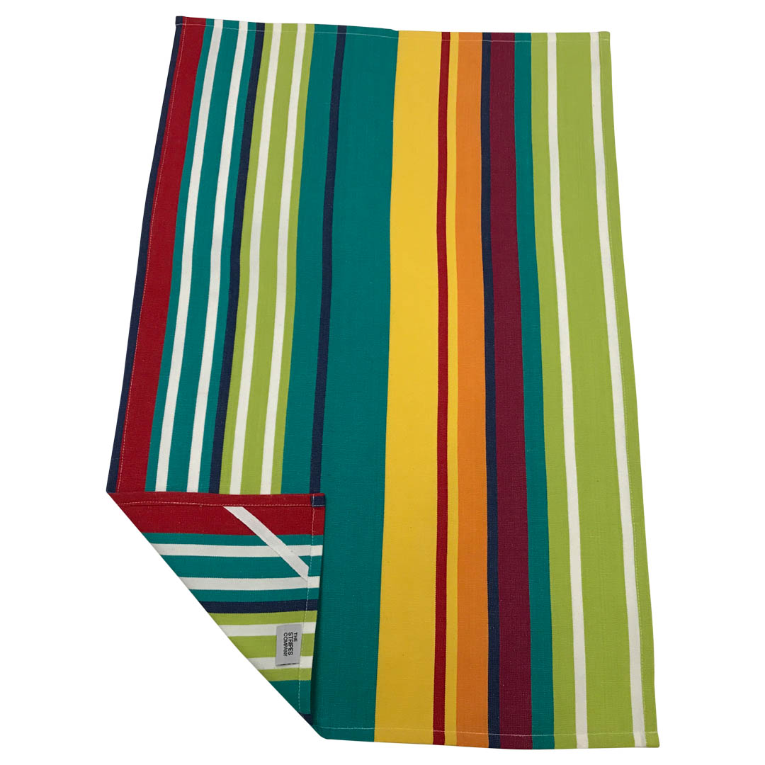 turquoise, green, red - Stripe Tea Towels | Striped Teatowels