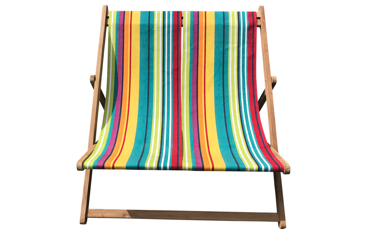 Aerobics Double Deckchair - Bright Vibrant Stripes