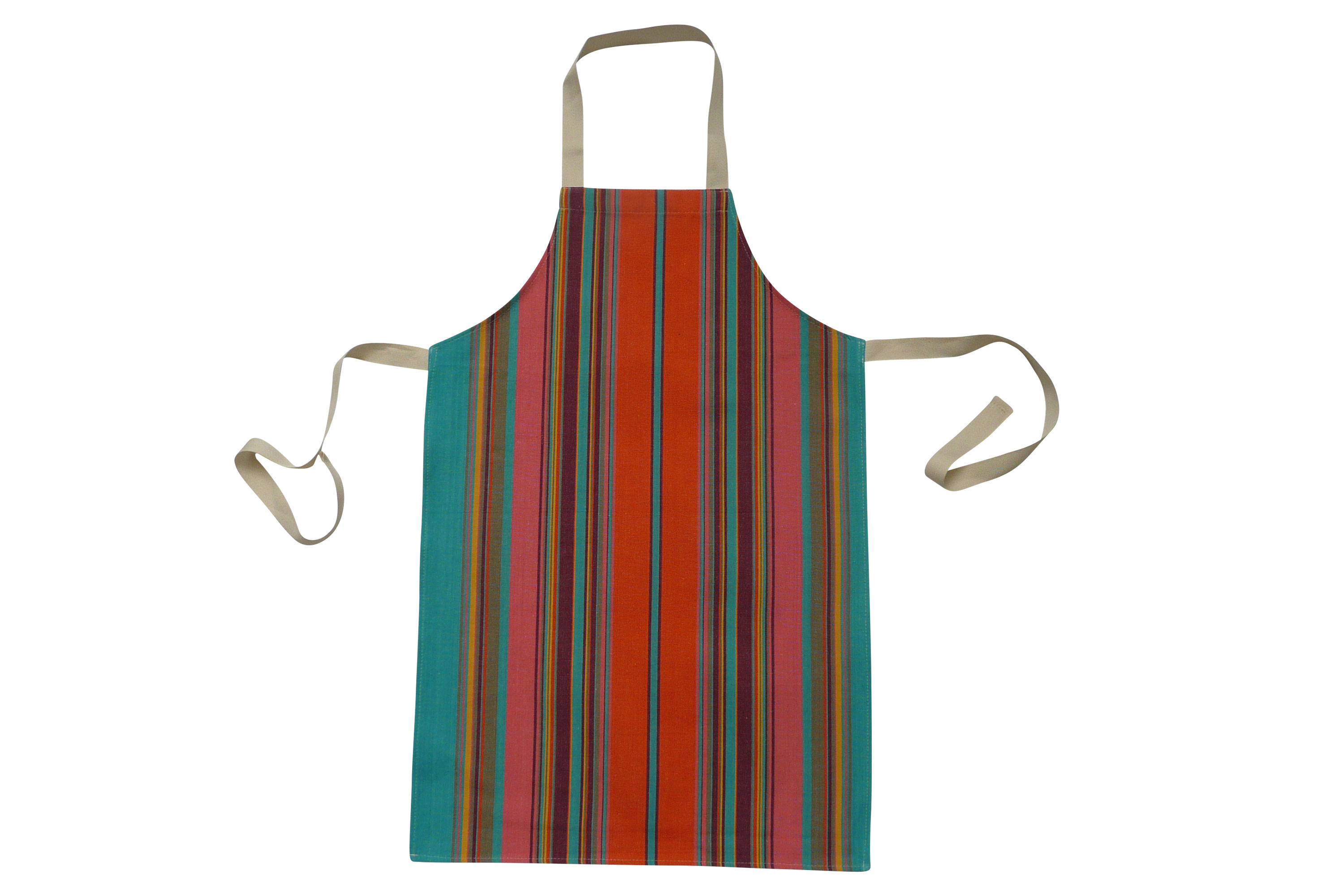 Striped Kids Aprons | Aprons for Children coral, bright green, terracotta