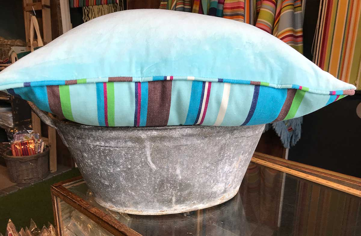 Aquamarine Velvet Half n Half Cushion with Stripes