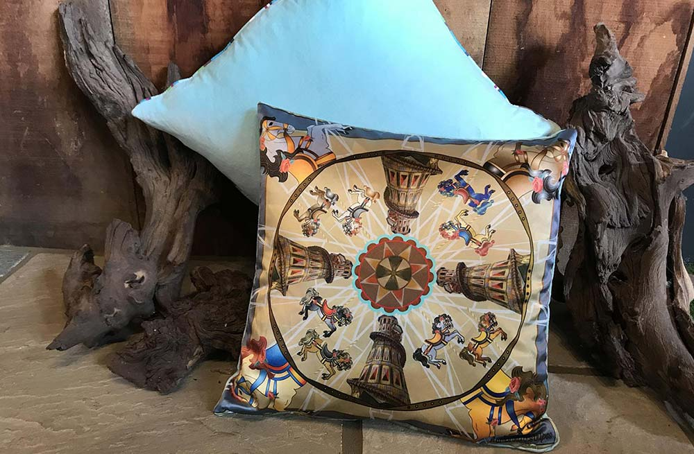 Vintage Fairground Helter Skelter Silk and Velvet Cushion Small