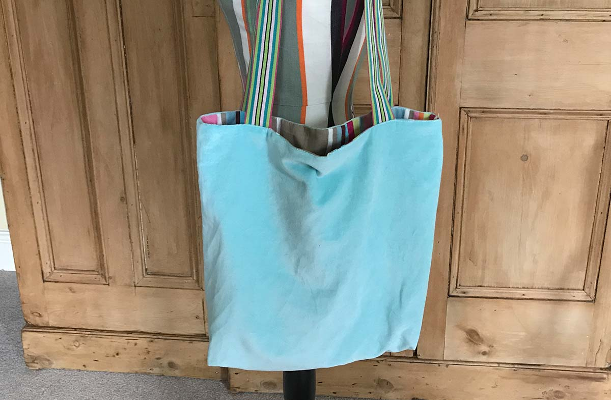 Aquamarine Velvet Reversible Tote Bag 40x40cm with 25cm handles