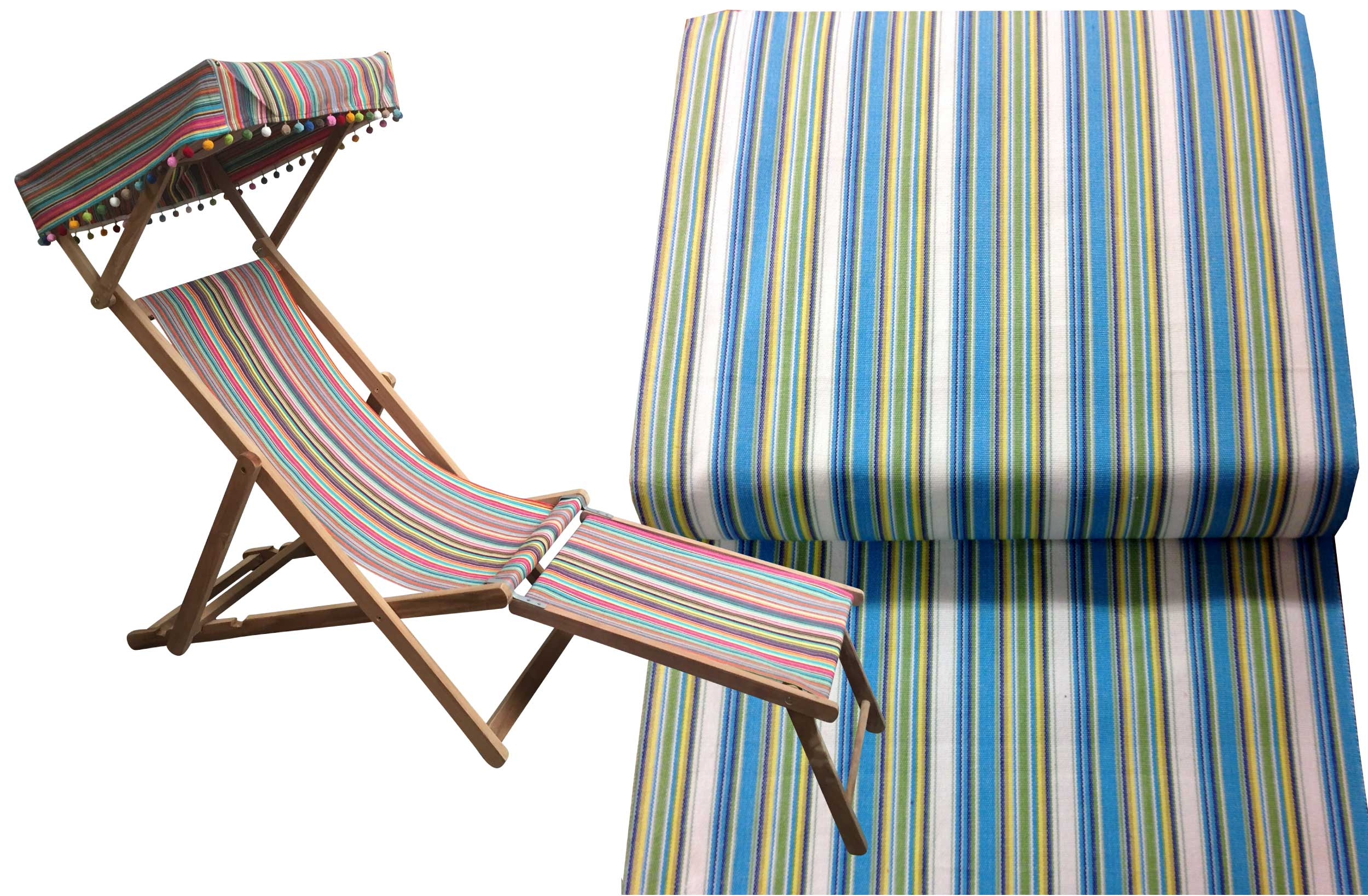 Turquoise, Green, White Stripe Deckchair with Canopy and Footstool