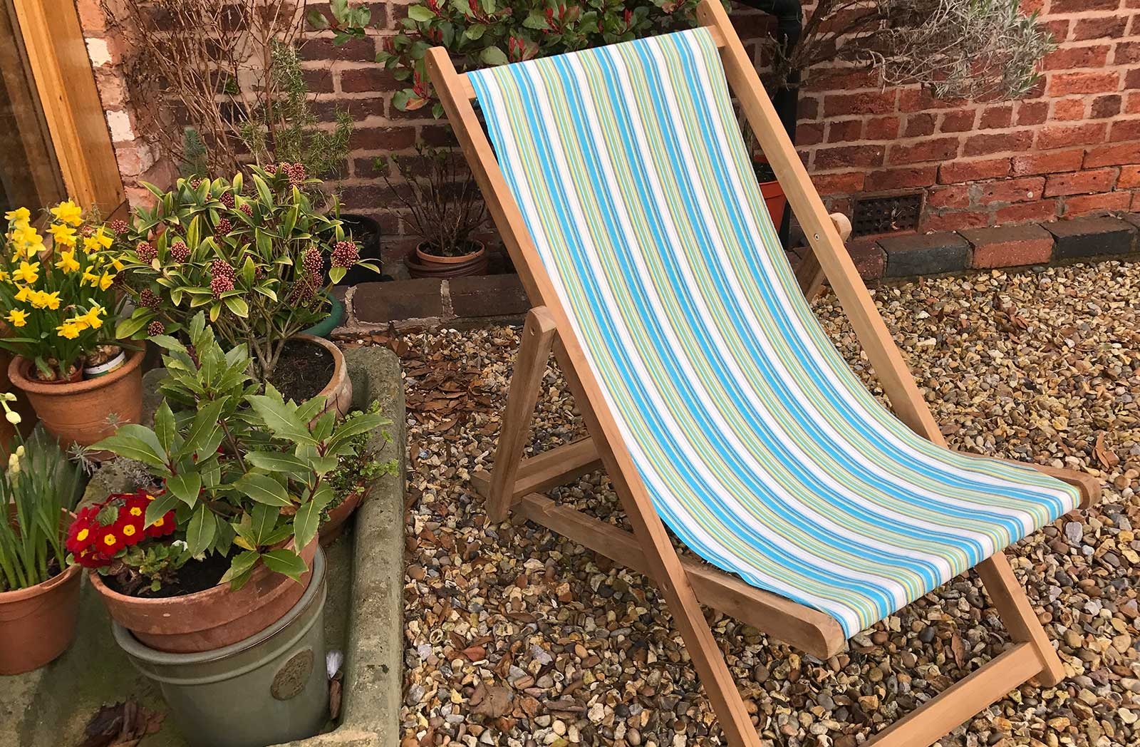 Teak Deck Chairs - Aquatics Stripe
